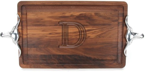 Monogrammed cutting boards with handles