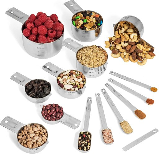 Hudson Essentials Stainless Steel Measuring Cups and Spoons Set