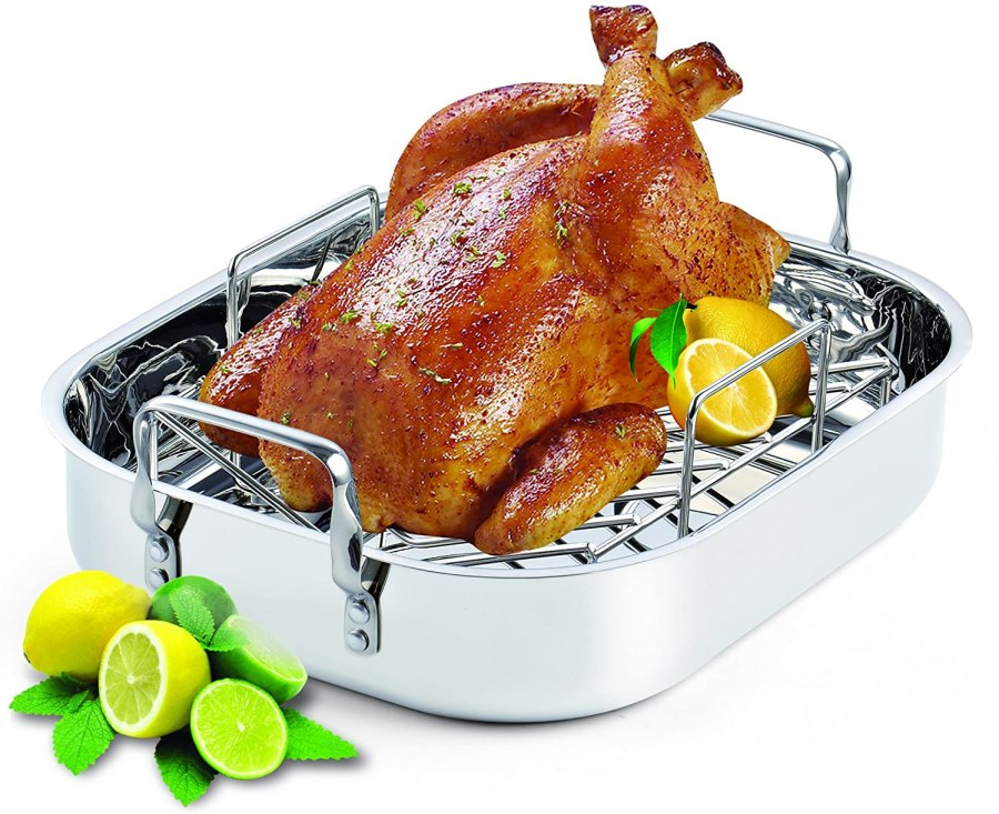 Stainless steel cooks roasting pan with rack for prime rib