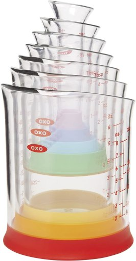 Liquid measuring cup sizes -OXO Good Grips  Measuring Beaker Set Ideal for measuring liquids such as water, milk, oil, vinegar and vanilla