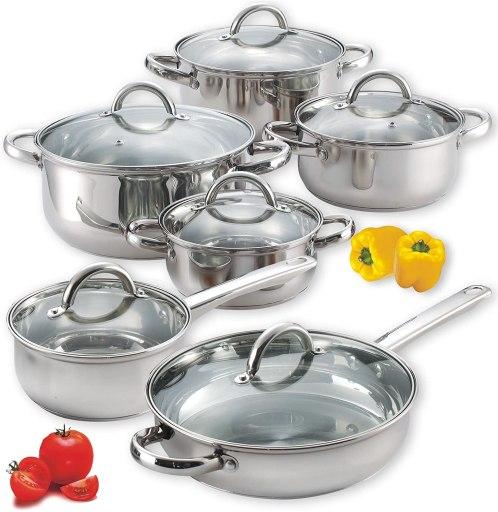 Cook N Home lightweight stainless steel cookware set