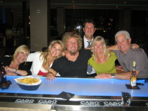 L-R: Janna Monroy, Kari Hagar, Sammy Hagar, Renata Ravina, her husband, Bill. Back row: Marco Monroy (Sam's business partner).