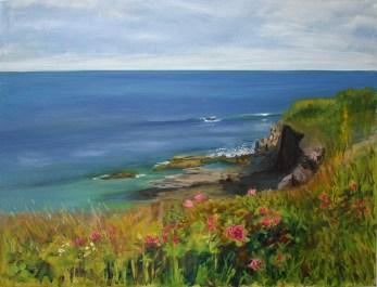 """Newport Cliff Walk, oil on canvas, 18"""" x 24"""""""