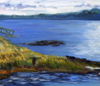 "Incoming Tide, en plein air, Boothbay, Maine, oil on canvas, 10"" x 20"""