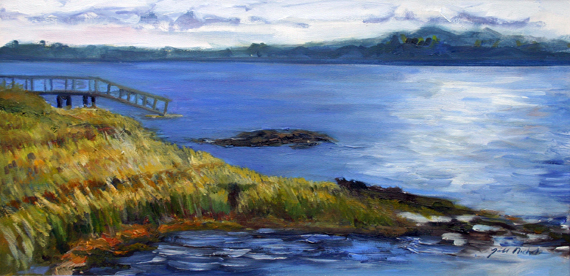 """Incoming Tide, en plein air, Boothbay, Maine, oil on canvas, 10"""" x 20"""""""