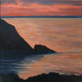 """Monhegan Sunset, oil on canvas, 12"""" x 12"""""""