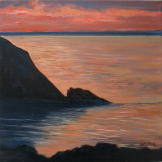 "Monhegan Sunset, oil on canvas, 12"" x 12"""