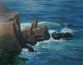 """Pulpit Rock, Monhegan, oil on canvas, 16"""" x 20"""""""