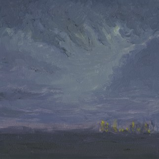 "New York Minute, en plein air, Stamford, CT, oil on board, 4"" x4"""