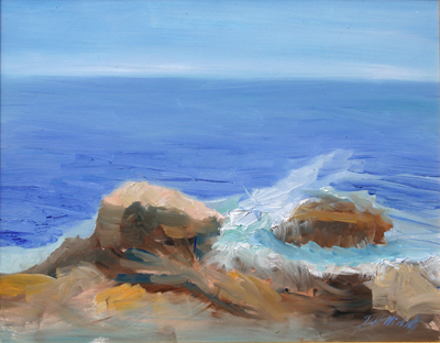 "Pemaquid Surf, 11"" x 14"", oil on canvas"