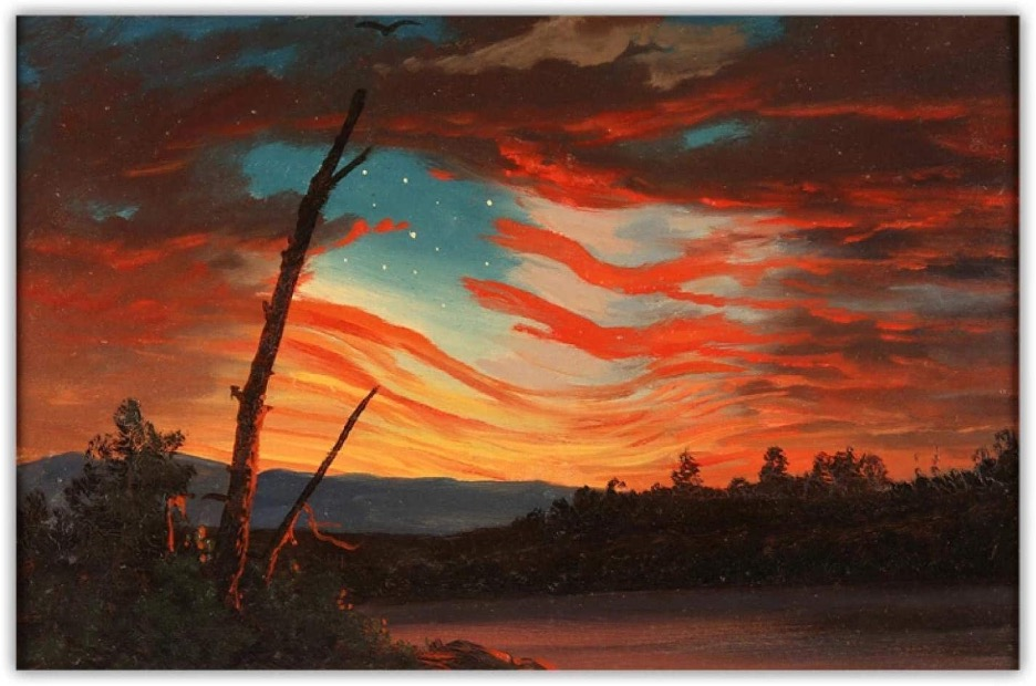 "Our Banner in The Sky, Frederic Edwin Church, 7.5"" x 11.25"", oil on paper, 1861 Featuring the Stars and Stripes of the Union Flag and the Northern Star"