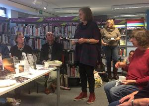 book and cake crawl in Dartmouth Library