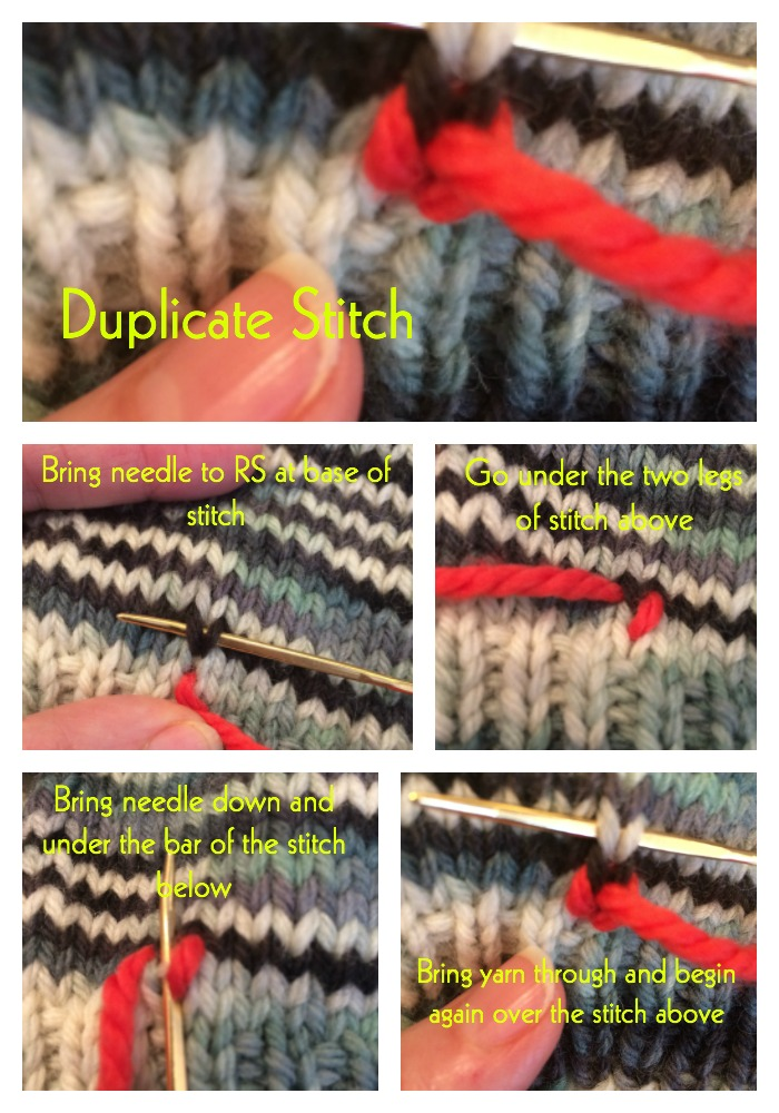 Duplicate Stitch In Main Color Or Contrast Color Jill Wolcott Knits