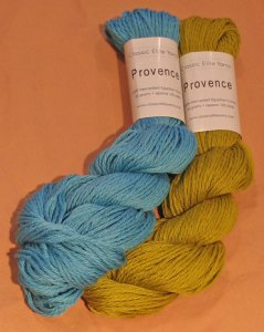 Provence from Classic Elite Yarns in Island Blue and Willow Green