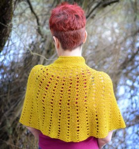 Back of Windsor capelette in Carnal from Vice Yarn on Jill