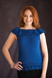 You'll shine in this elegant and inspired top! The dazzling lattice lace collar creates a sophisticated look that pairs perfectly with the shimmery yarn for a truly stunning design.