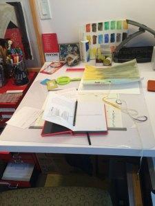 Despair: Art area at left end of desk