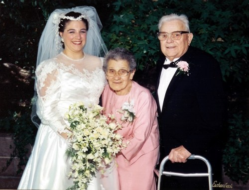 Karen Whooley and her Nonna on her wedding day