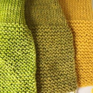 Garter Stitch: 4-ply super wash Merino blend, 2-ply Rambouillet, 4-ply wool