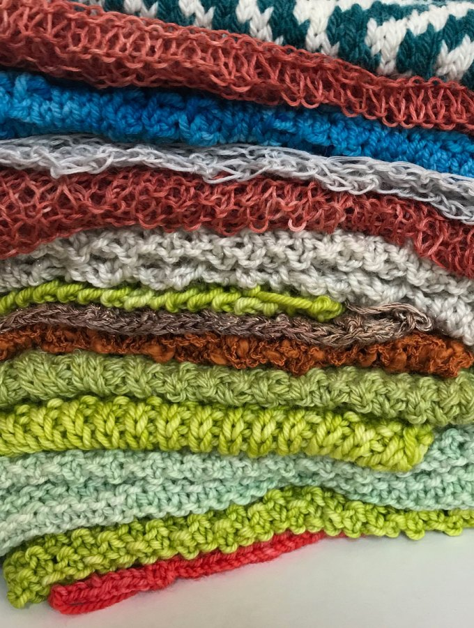 Yarn and Stitch Pattern: A pile of swatches for current projects