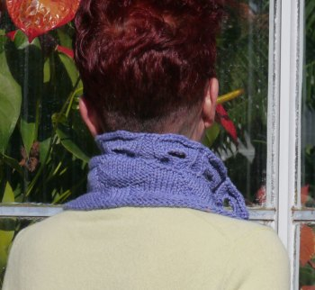 Ormt in Serenity: Back view over a crew neck sweater