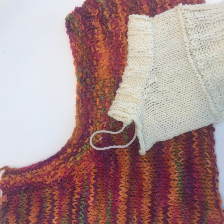 Difference the Gauge Makes: Samples of gauge swatches with neckline shaping