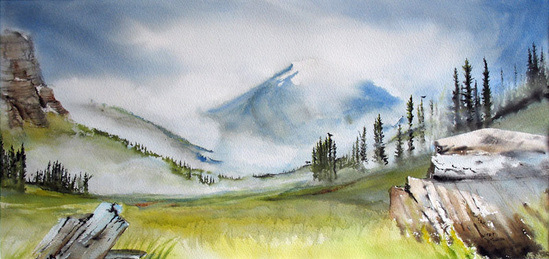 Valley and grass in Canada: painting