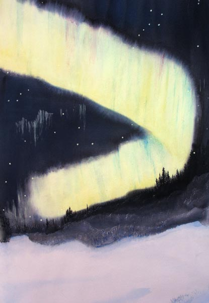 Winter Northern Lights in Canada: painting