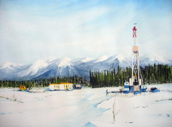 Winter oil well in mountains