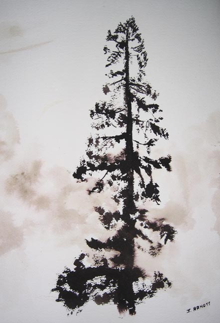 An ink painting of tree at corner of Moss and Richardson