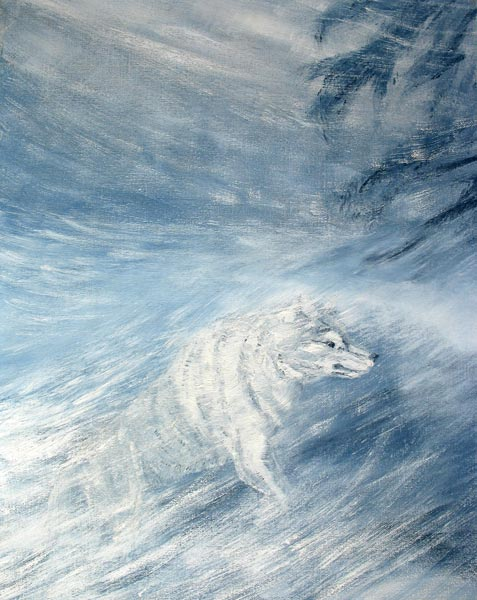Oil painting of a Wolf in Snowstorm