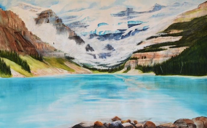 The pure blue green water of Lake Louise is nestled in the mountains: watercolour painting