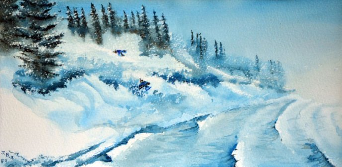 Winter snow and wind pelt the shores of Cold Lake in this stylized water colour by James Arnott.