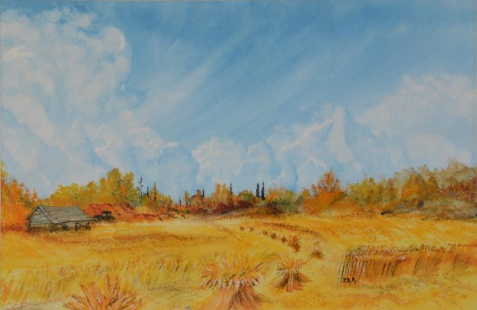 Stooks in a field in the Peace Country from mid 20th Century - painting
