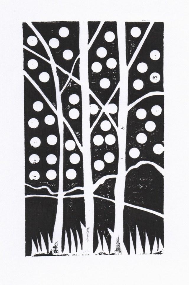 Birches Block Print