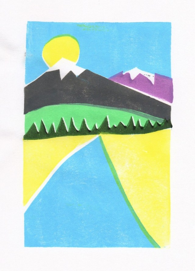 Sun Over Mountain - 6 Color Block Print