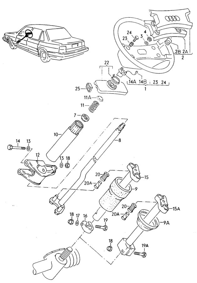 Service manual [1984 Audi 5000s Tilt Steering Column