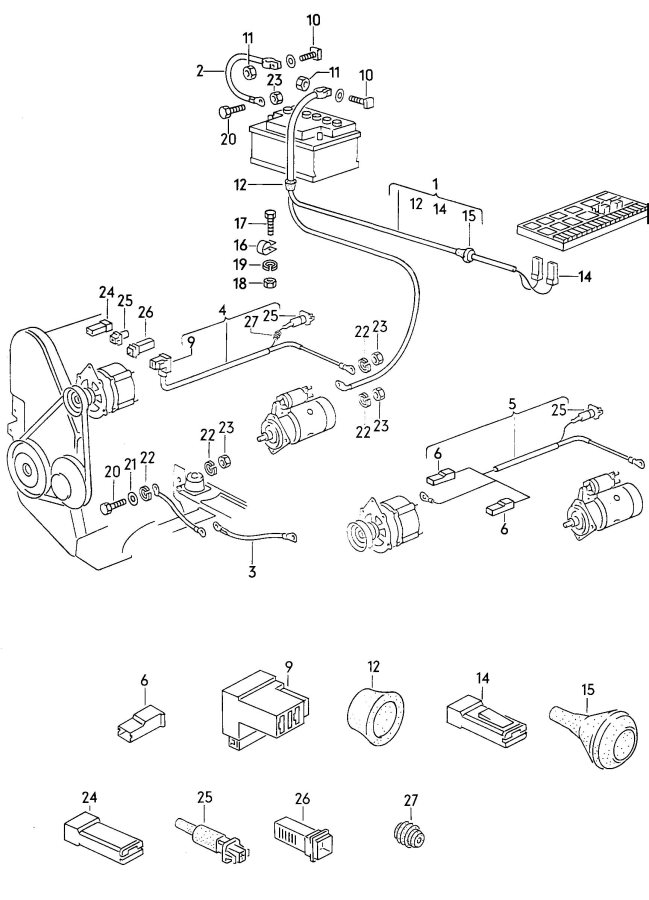 Audi Harness for harness for battery + alternator battery