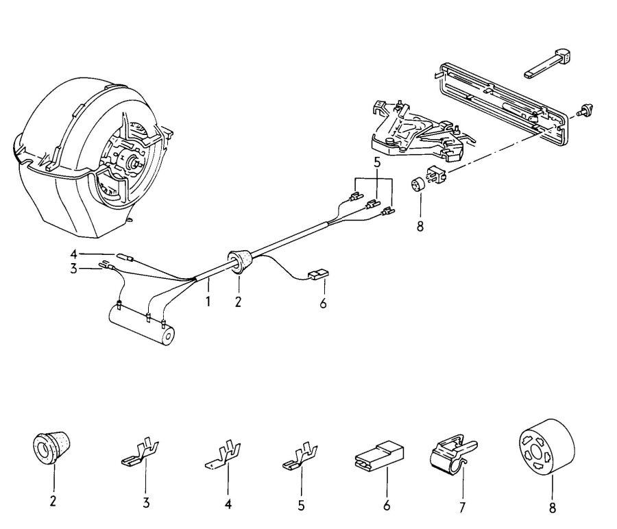 1992 Audi 100 Quattro Male blade terminal housing harness