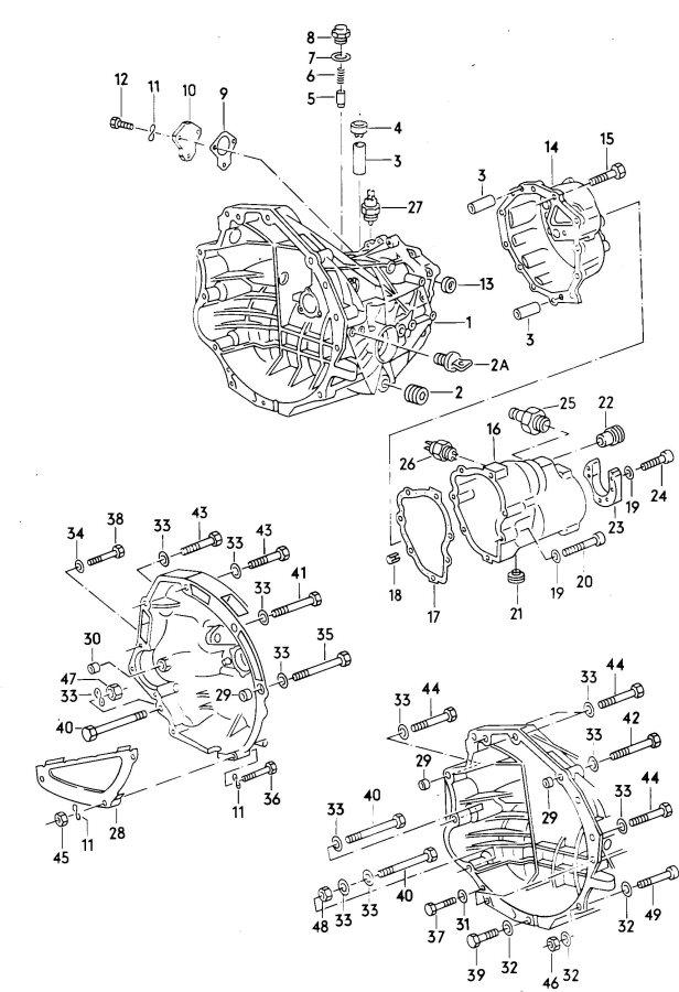 1986 Audi 4000 Quattro Transmission case for 5 speed