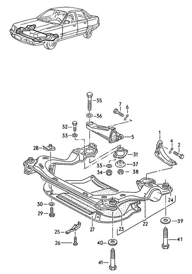 Audi 100 Fasteners for automatic transmission for manual