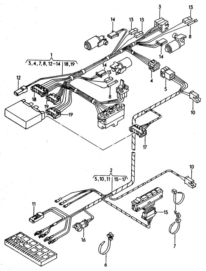 Audi 100 Wire harness for electri- cally-operated seat