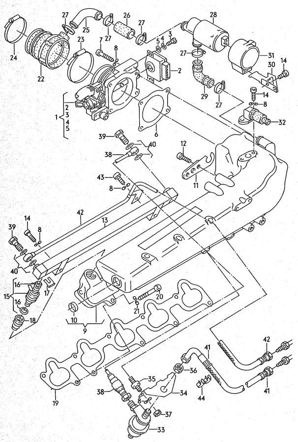 Audi Throttle body intake manifold fuel line