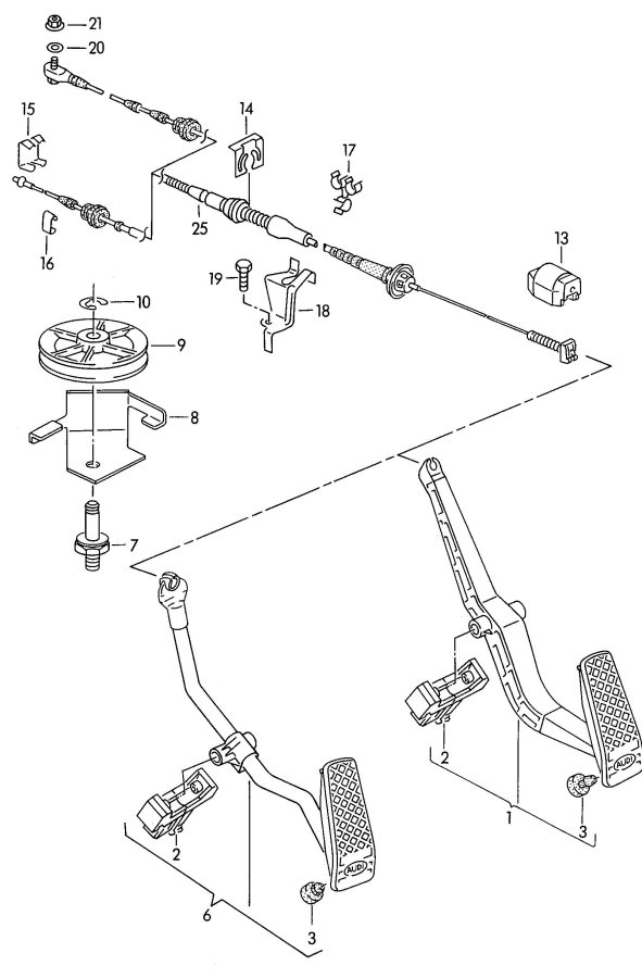 Audi 80 Mounting for accelerator. ACCELERATOR MOUNTING