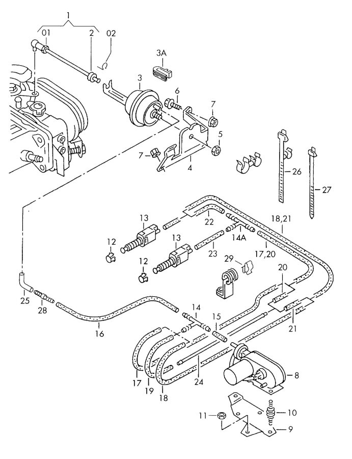 2001 Audi Ventilation valve clutch pedal brake pedal