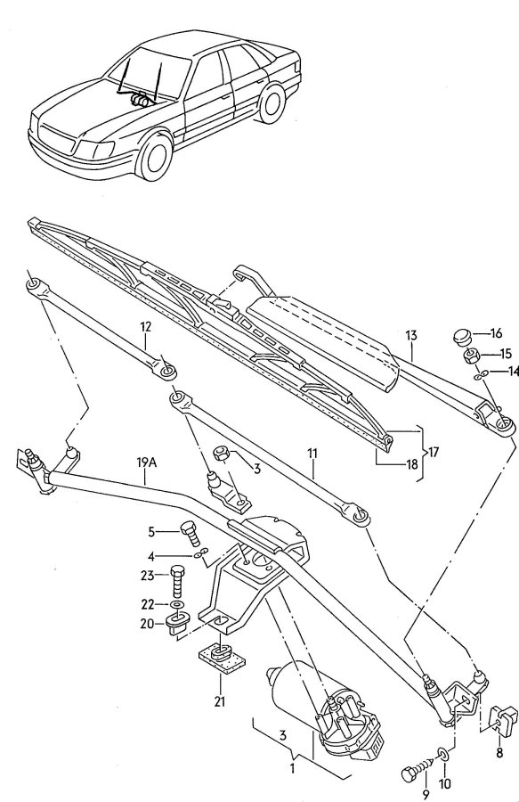 Audi A4 Blade, Wiper (Driver Side with Wear Indicator