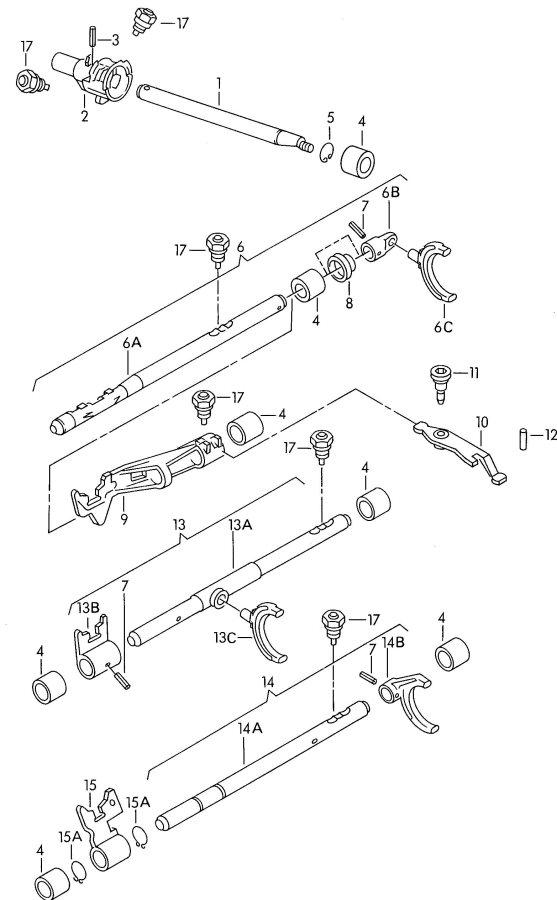 2002 Audi S4 Avant Drag lever. OPERATING LEVER. Fork