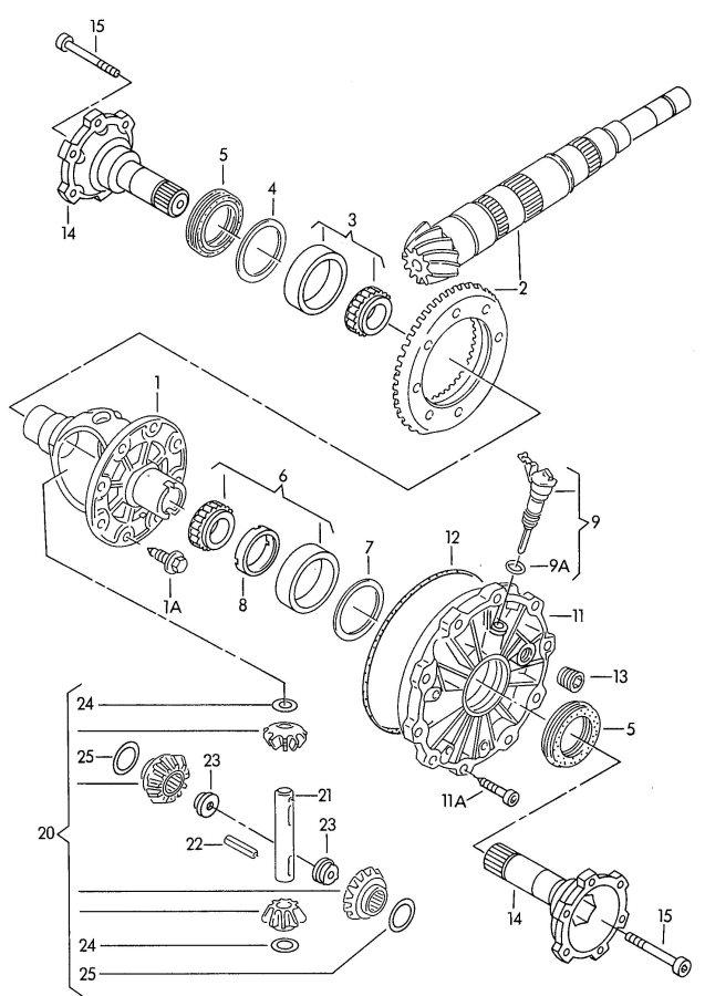 2005 Audi A4 Quattro Avant Flange shaft nut. Limited, Slip