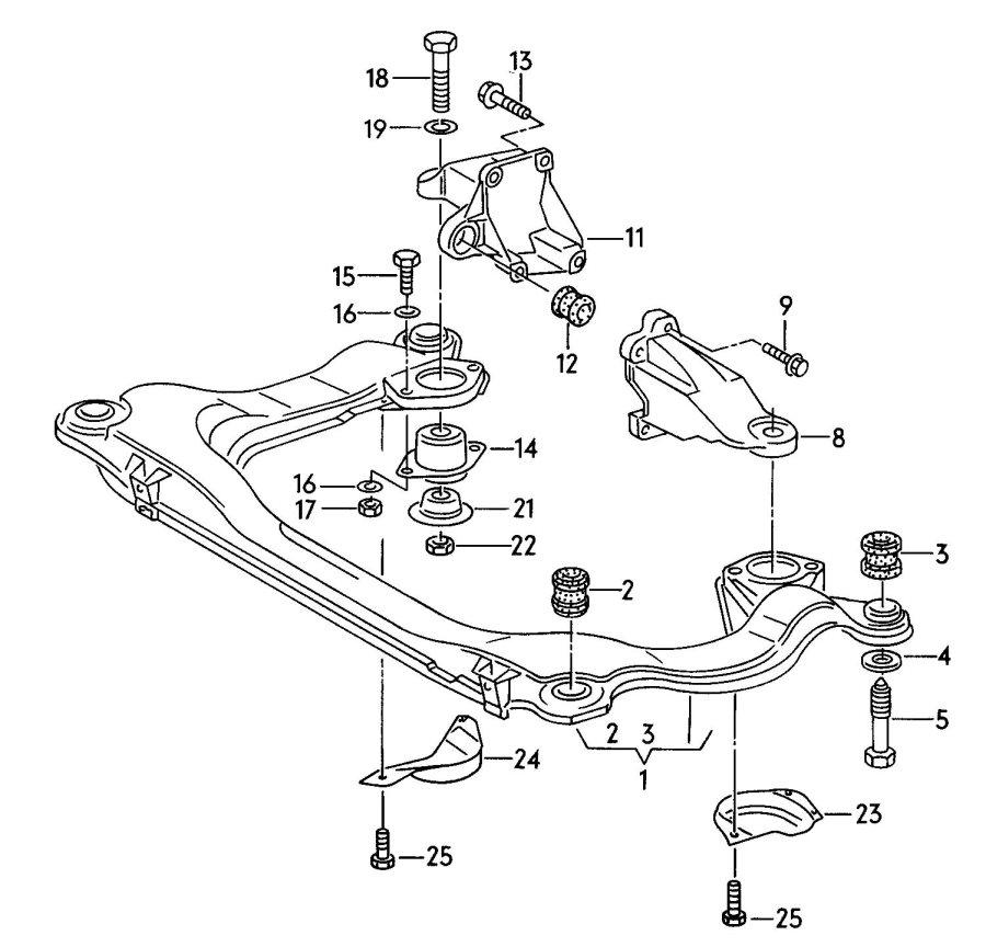 Audi Transmission securing parts sub-frame 6 cylinder