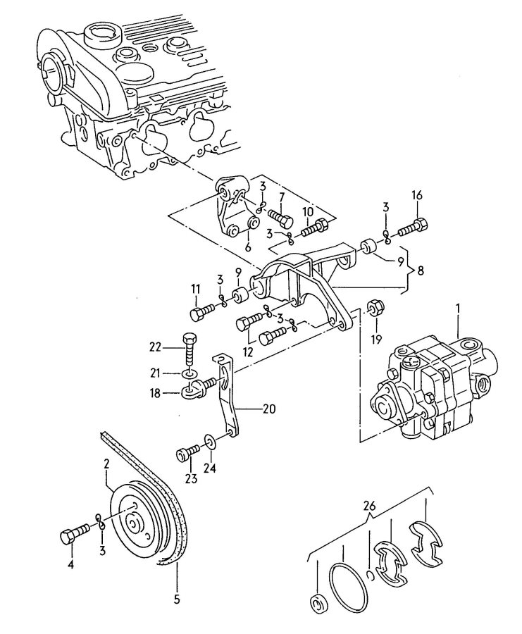 Audi Tandem vane type pump for power steering